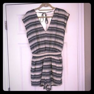 Madewell Blue and Cream Linen Striped Romper